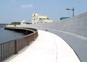 中川護岸耐震補強工事( 東京都) 壁面修